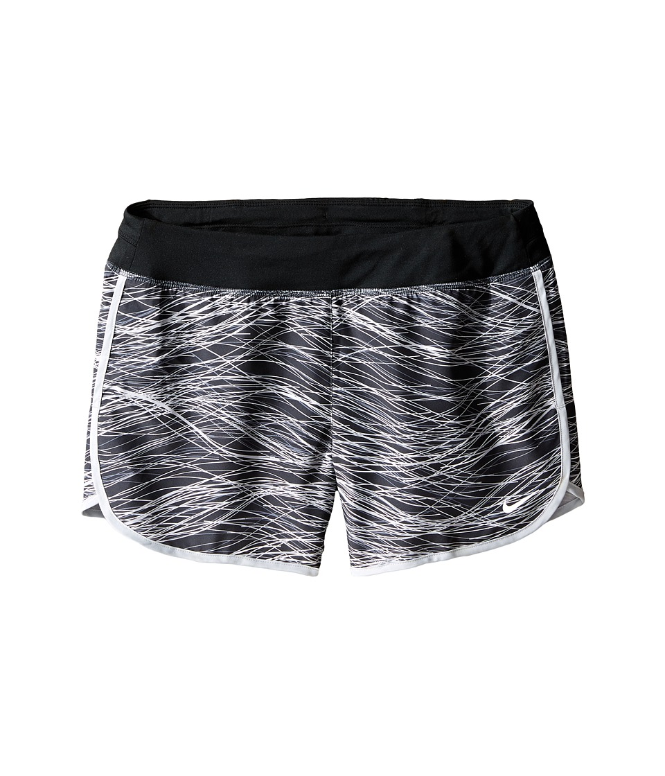 Nike Kids - Dry 3 Print Running Short (Little Kid/Big Kid) (Black/Black/Wolf Grey/Reflective Silver) Girl's Shorts