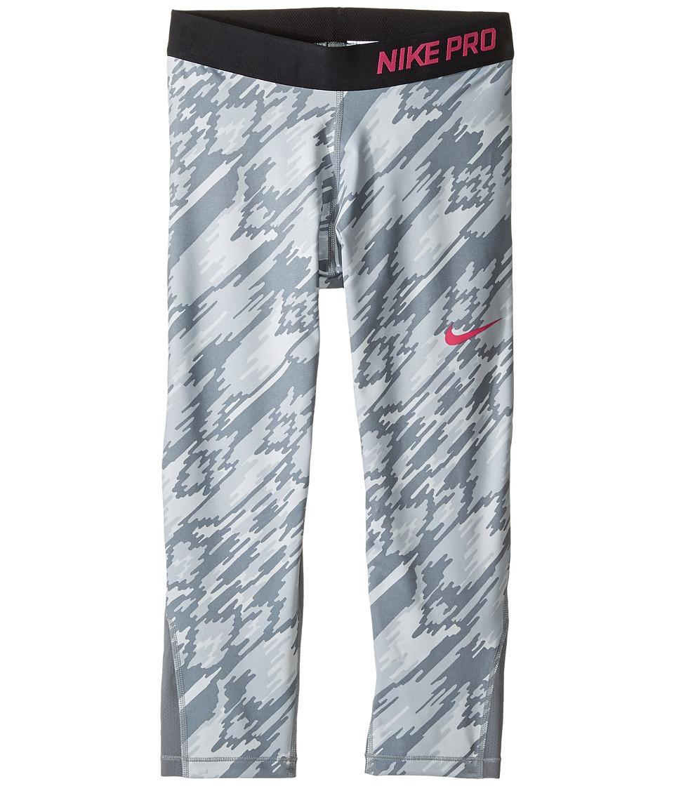 Nike Kids - Pro Cool Printed Training Capri (Little Kids/Big Kids) (Pure Platinum/Cool Grey/Black/Vivid Pink) Girl's Casual Pants