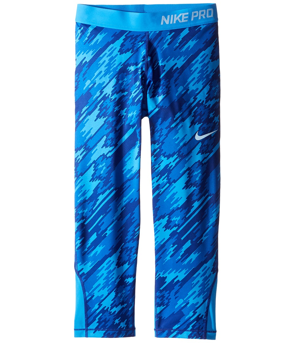 Nike Kids - Pro Cool Printed Training Capri (Little Kids/Big Kids) (Light Photo Blue/Light Photo Blue/Blue Cap) Girl's Casual Pants