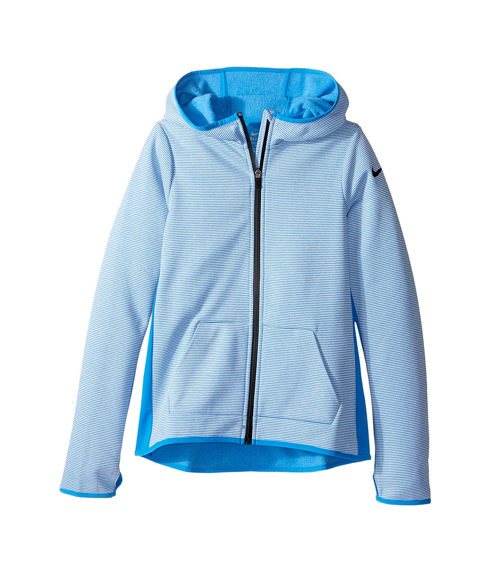 Nike Kids - Therma Training Zip Hoodie (Little Kid/Big Kid) (Light Photo Blue/Light Photo Blue/Black) Girl's Sweatshirt