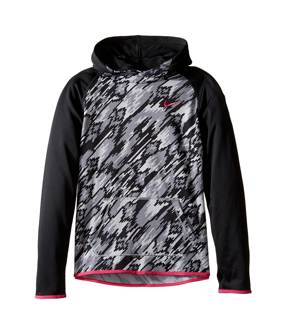 Nike Kids - Therma Training Print Hoodie (Little Kids/Big Kids) (Black/Black/Vivid Pink) Girl's Sweatshirt