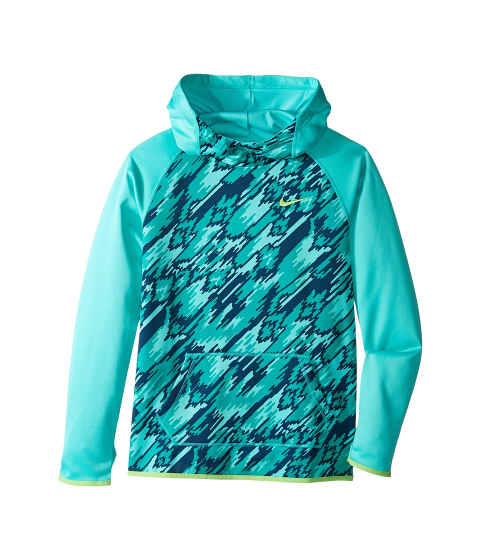 Nike Kids - Therma Training Print Hoodie (Little Kids/Big Kids) (Hyper Jade/Hyper Jade/Action Green) Girl's Sweatshirt