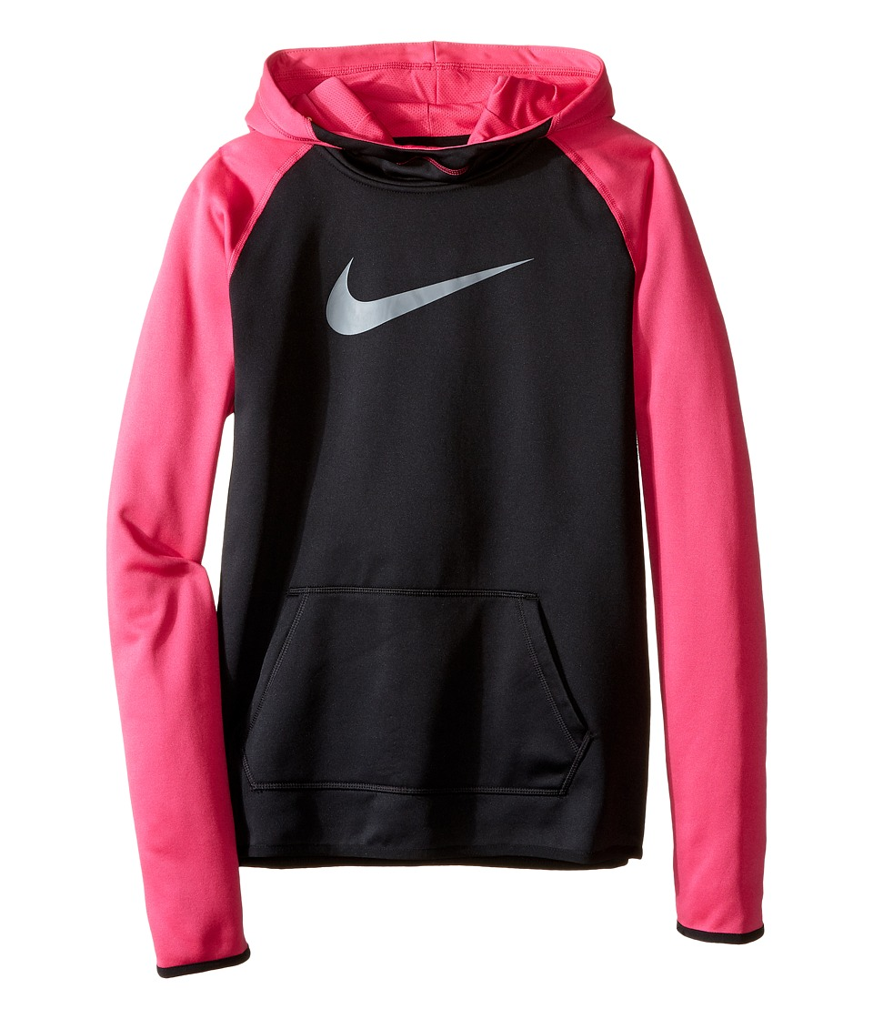 Nike Kids - Therma Training Hoodie (Little Kids/Big Kids) (Black/Vivid Pink/Hyper Pink) Girl's Sweatshirt