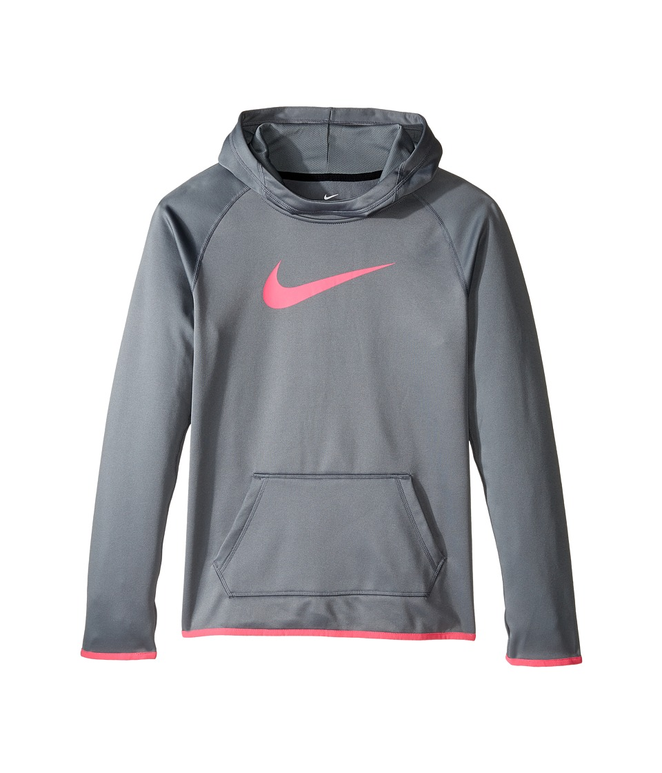 Nike Kids - Therma Training Hoodie (Little Kids/Big Kids) (Cool Grey/Cool Grey/Hyper Pink) Girl's Sweatshirt