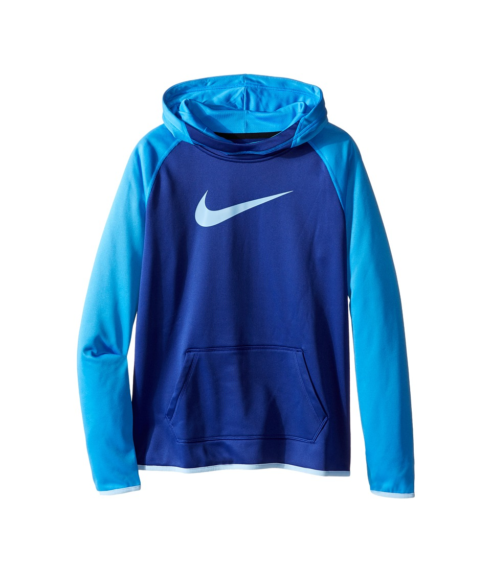 Nike Kids - Therma Training Hoodie (Little Kids/Big Kids) (Deep Royal Blue/Light Photo Blue/Blue Cap) Girl's Sweatshirt