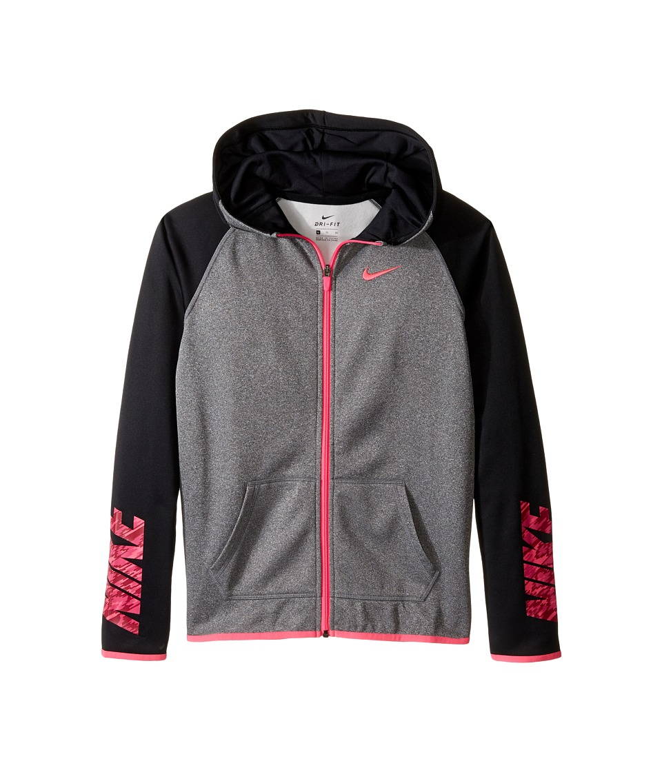 Nike Kids - NK Thermal Hoodie FZ AT GFX (Little Kid/Big Kid) (Black Heather/Black/Black/Hyper Pink) Girl's Sweatshirt