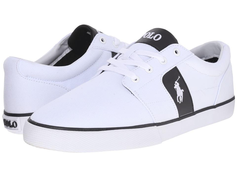 Polo Ralph Lauren - Halmore (Pure White/Black Canvas/PU) Men's Lace up casual Shoes