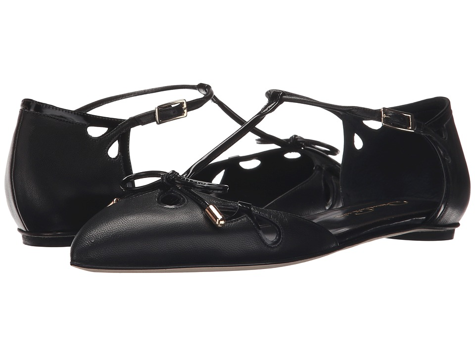 Oscar de la Renta Kimi 5mm (Black Nappa/Black Patent Leather) Women