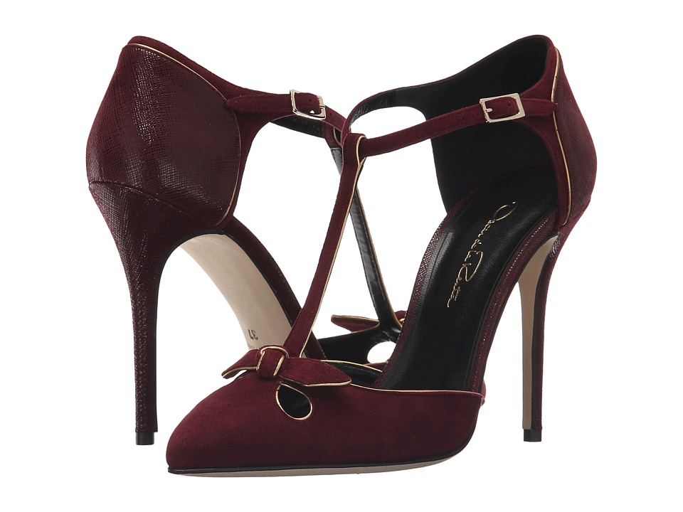 Oscar de la Renta Karlina 100mm (Bordeaux Suede/Specchio/Crosshatch) Women