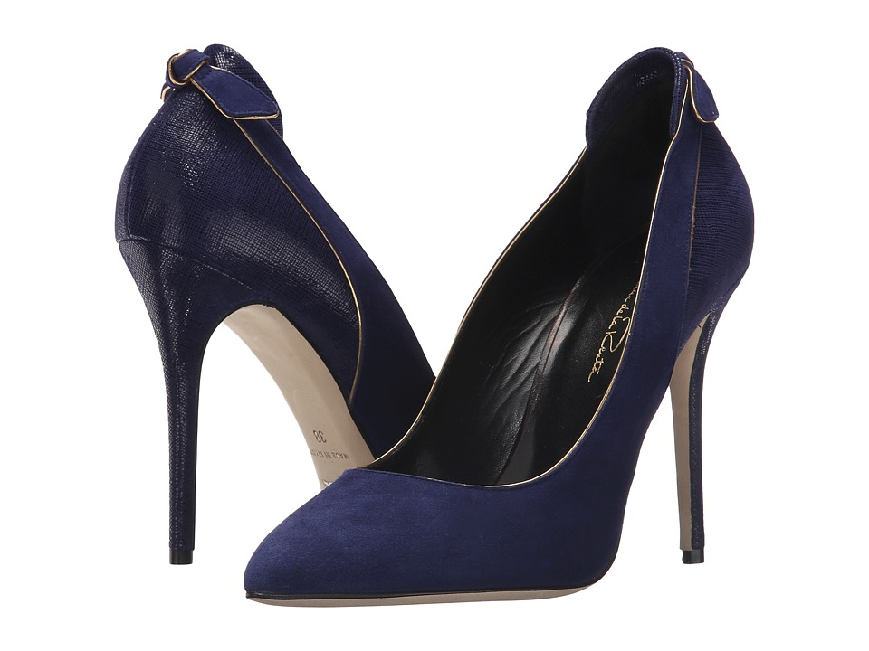 Oscar de la Renta Gloria 100mm (Navy Suede/Specchio/Crosshatch) Women
