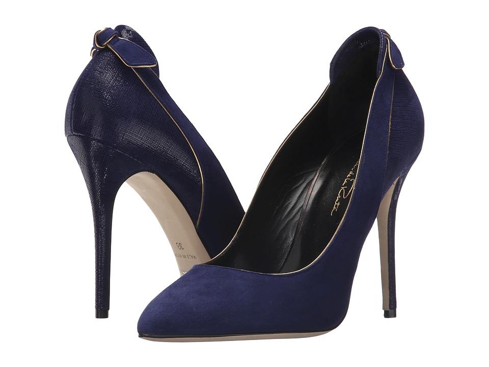 Oscar de la Renta - Gloria 100mm (Navy Suede/Specchio/Crosshatch) Women's Shoes