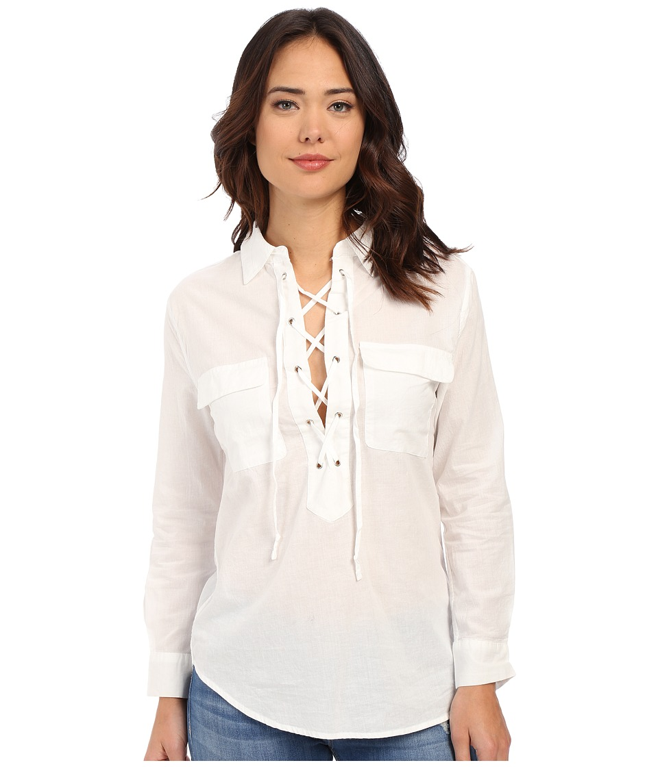 Brigitte Bailey - Daraleigh Tie-Front Top (White) Women's Long Sleeve Button Up
