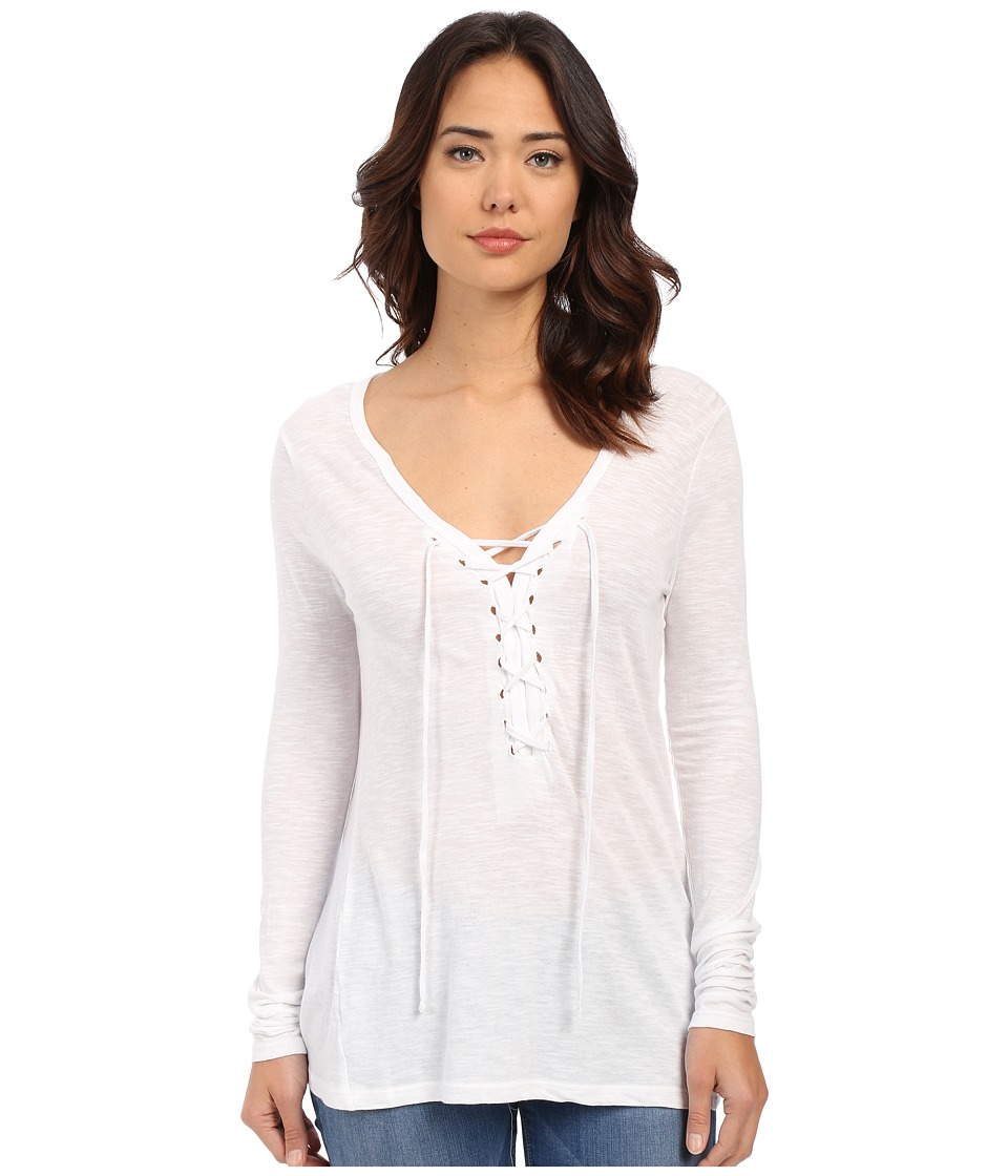 Brigitte Bailey - Darcy Tie-Front Top (White) Women's Long Sleeve Pullover