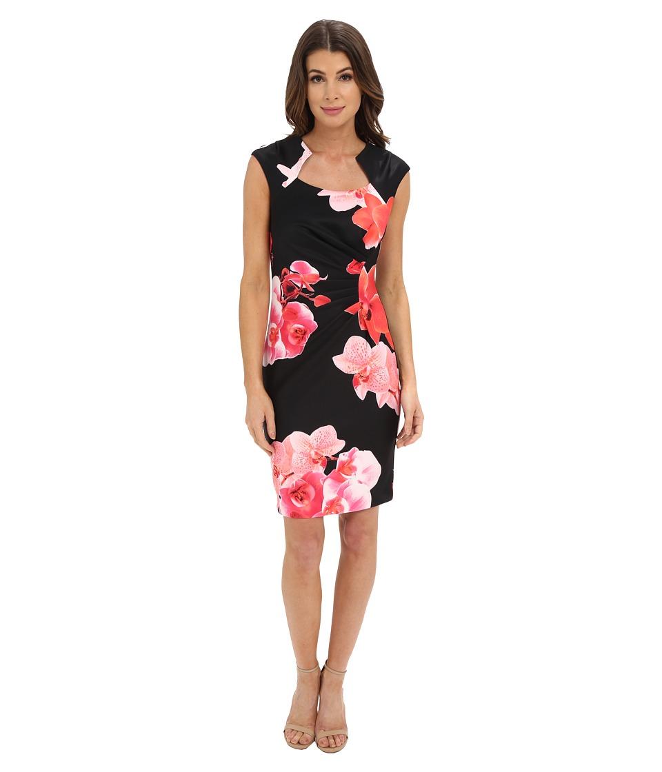 Calvin Klein Floral Print Sheath Dress CD6M4021 (Black/Hibiscus) Women