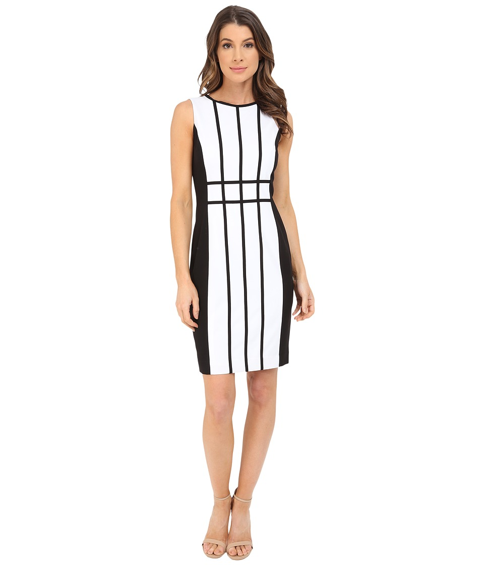 Calvin Klein - Grid Pattern Sheath Dress CD6X17L9 (White/Black) Women's Dress