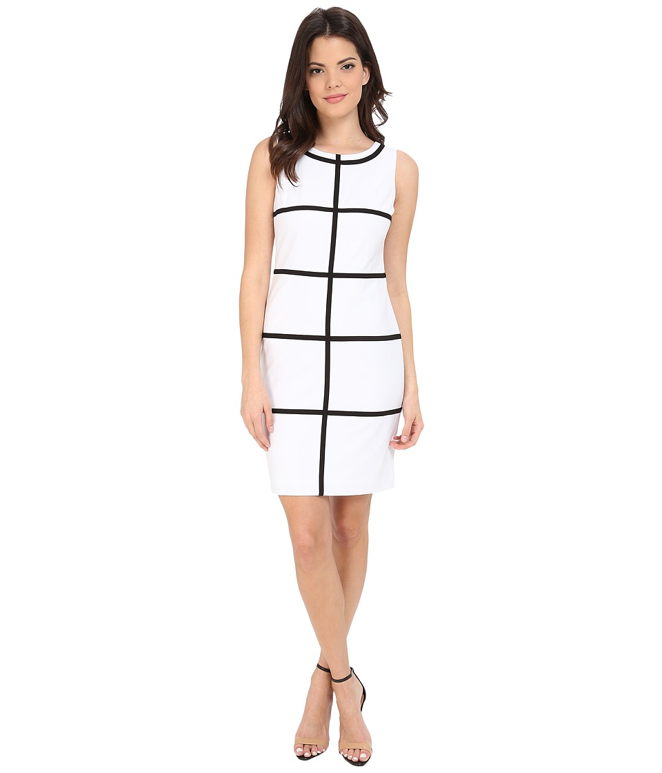 Calvin Klein - Sheath Line Dress CD5X1H6D (White/Black) Women's Dress