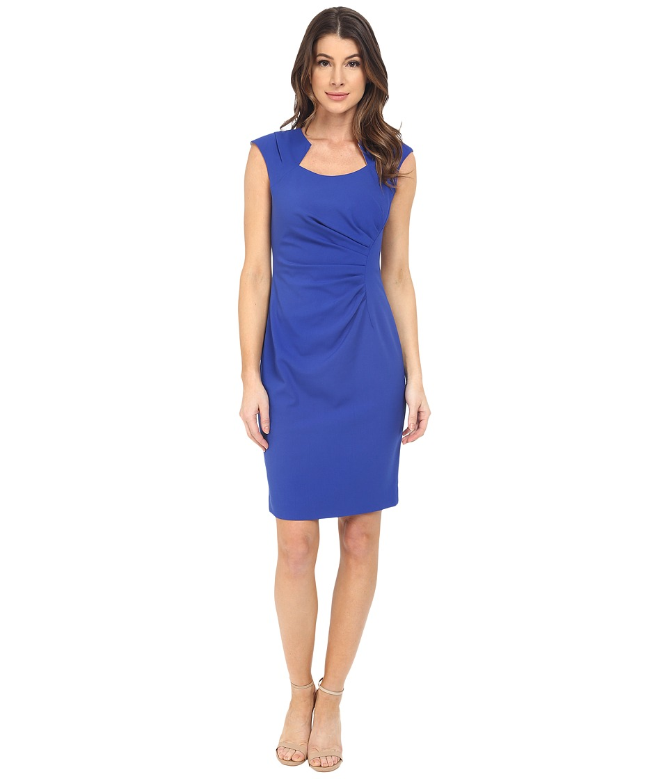 Calvin Klein - Cap Sleeve Ruched Sheath Dress (Atlantis) Women's Dress