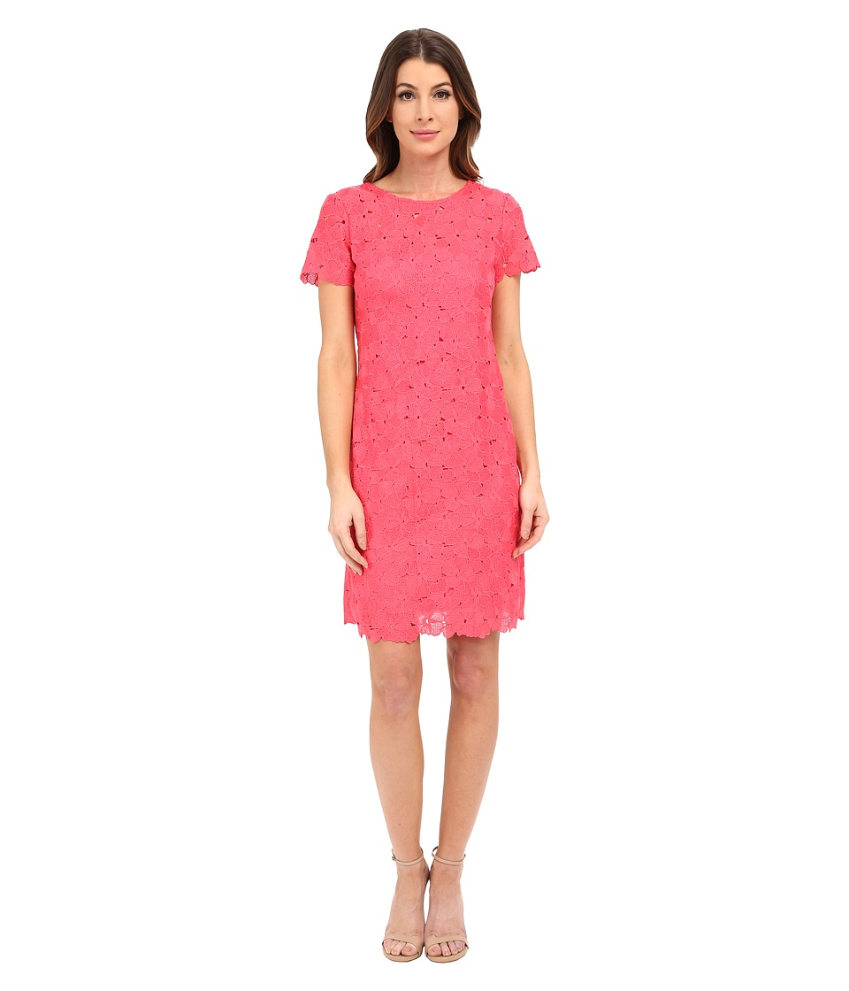Calvin Klein - Sleeved Lace Dress CD6L1U4Y (Watermelon) Women's Dress