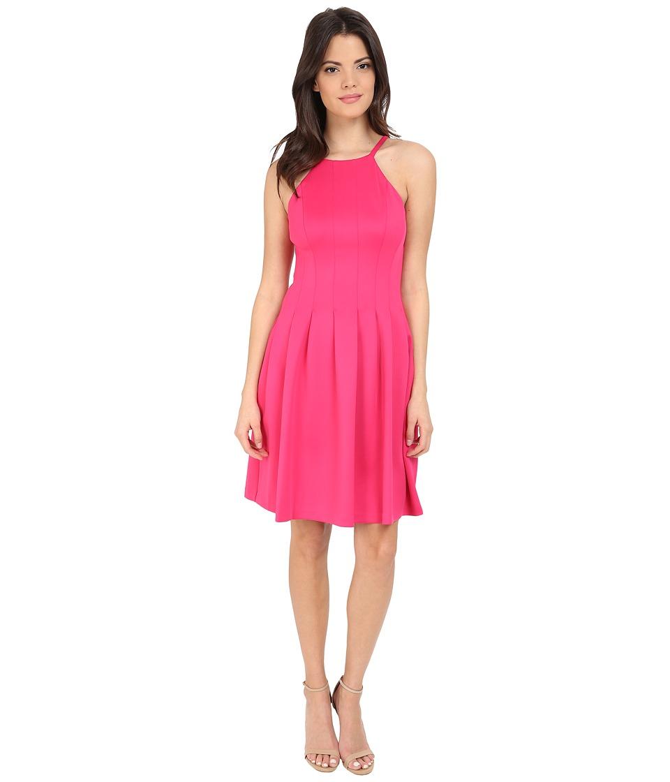 Calvin Klein Halter Neck Fit Flare Dress CD6M1B6D (Hibiscus) Women