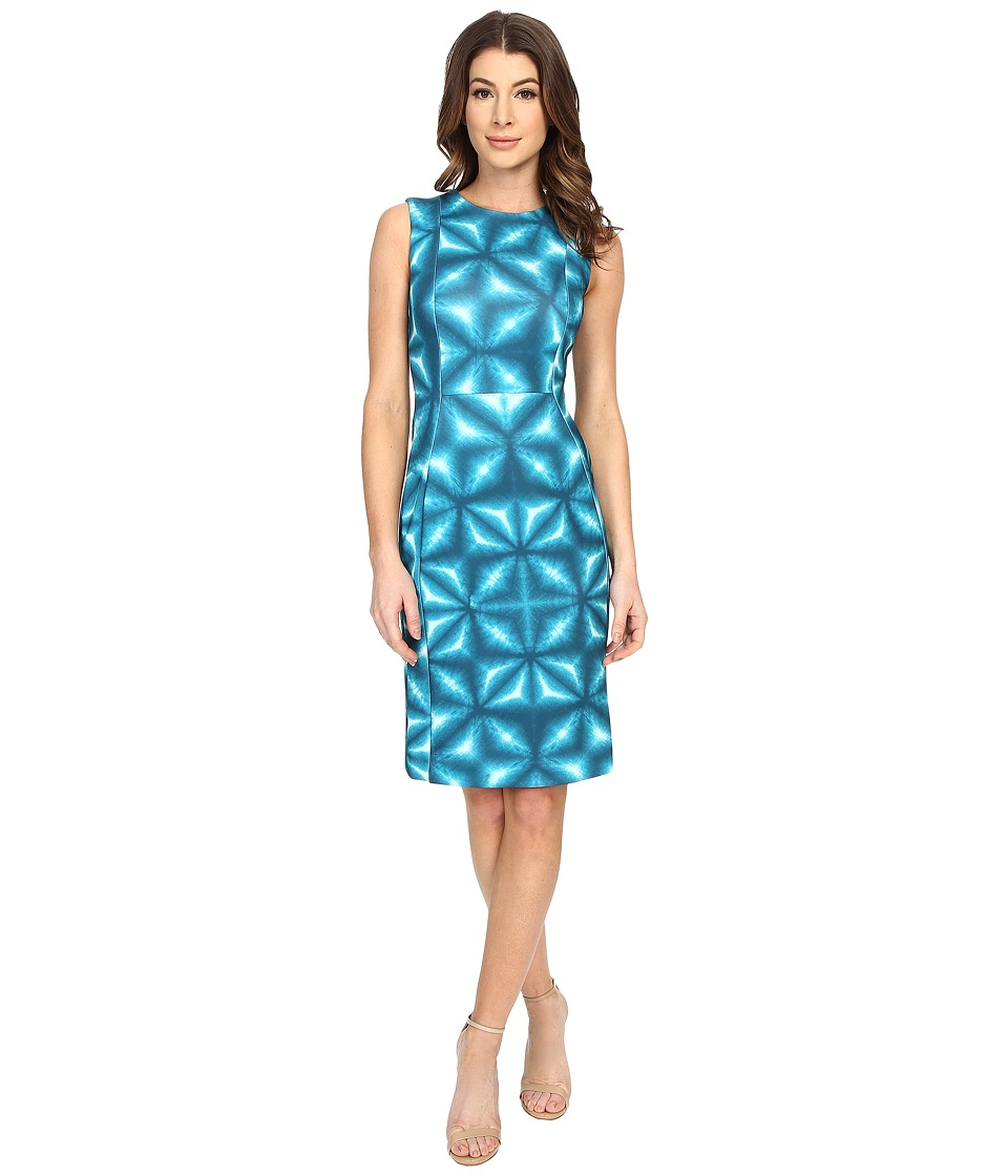 Calvin Klein - Patterned Sheath Dress CD6M2A00 (Lagoon Multi) Women's Dress