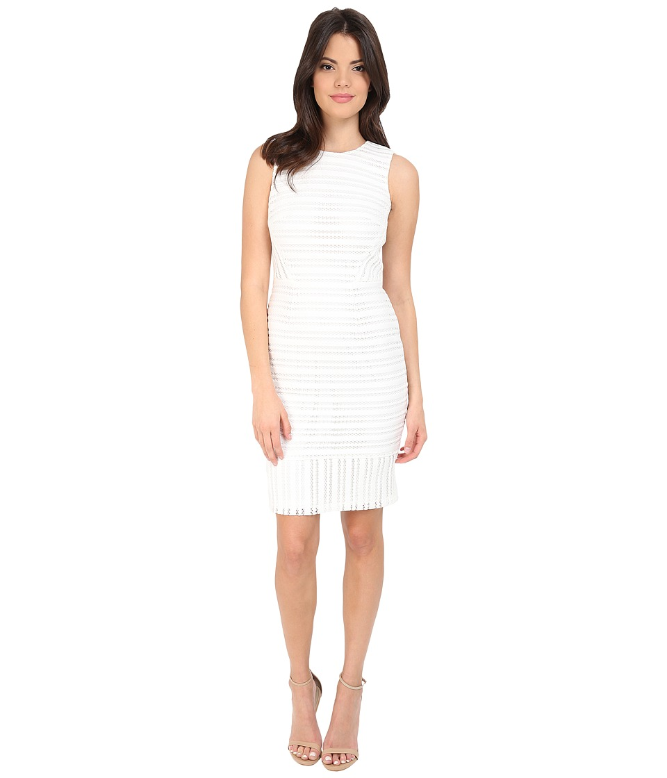 Calvin Klein - Novelty Fabric Sheath Dress CD6M2T8N (White) Women's Dress