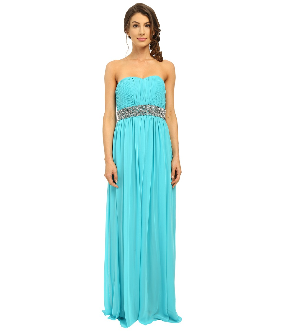 Calvin Klein - Strapless Gown with Sequin at Waist CD6B2ZRZ (Manganese) Women's Dress
