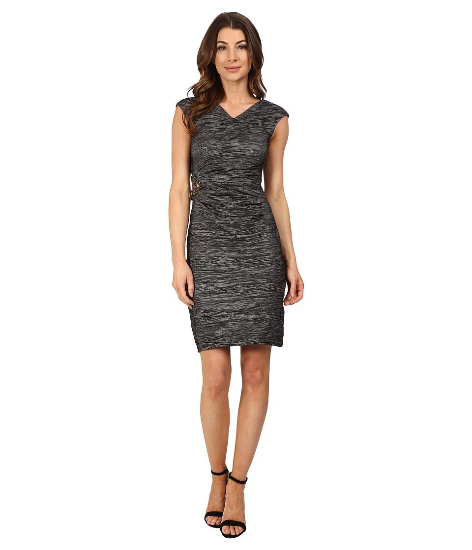 Calvin Klein Cap Sleeve Dress with Beading on Side CD6B2ZHU (Steel) Women