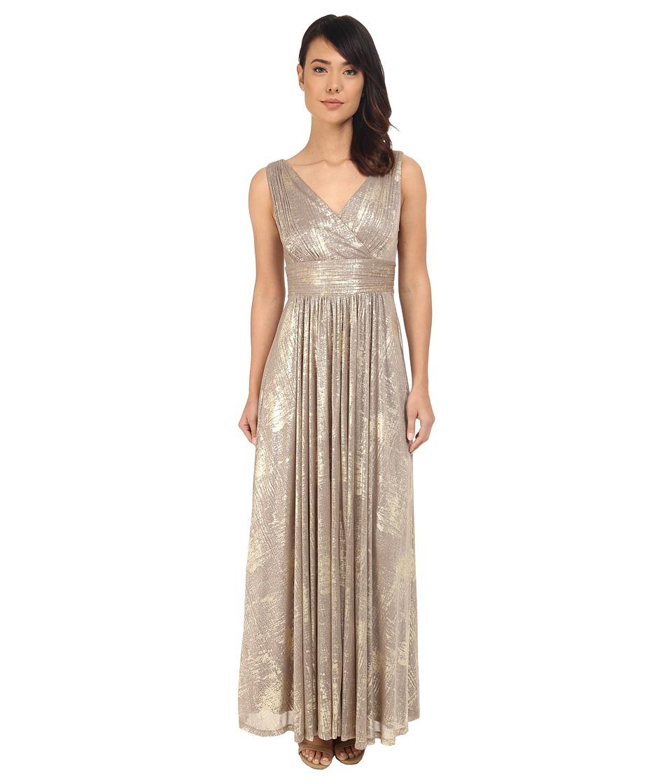 Calvin Klein V-Neck Foil Jersey Dress CD6B2U3L (Taupe) Women