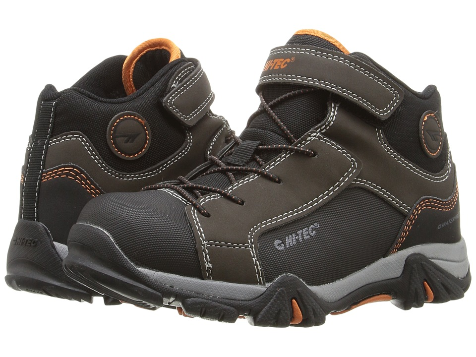 Hi-Tec Kids - Trail Ox Mid Waterproof (Toddler/Little Kid/Big Kid) (Dark Chocolate/Black/Burnt Orange) Kids Shoes