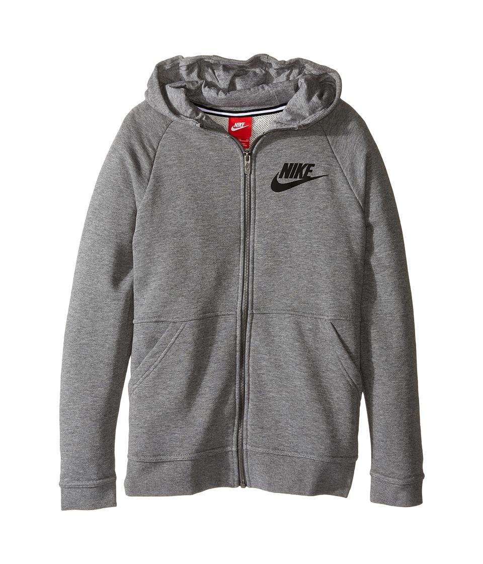 Nike Kids - Sportswear Modern Hoodie (Little Kid/Big Kid) (Carbon Heather/Dark Grey/Black) Girl's Sweatshirt