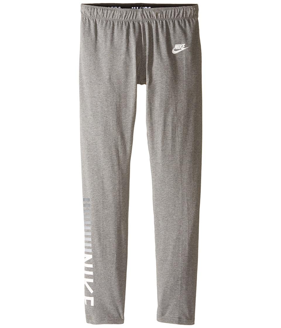 Nike Kids - Sportswear Tight (Little Kid/Big Kid) (Carbon Heather) Girl's Casual Pants
