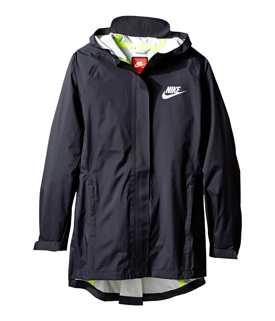 Nike Kids - Sportswear Jacket (Little Kid/Big Kid) (Black/Black/Volt/Reflective Silver) Girl's Coat