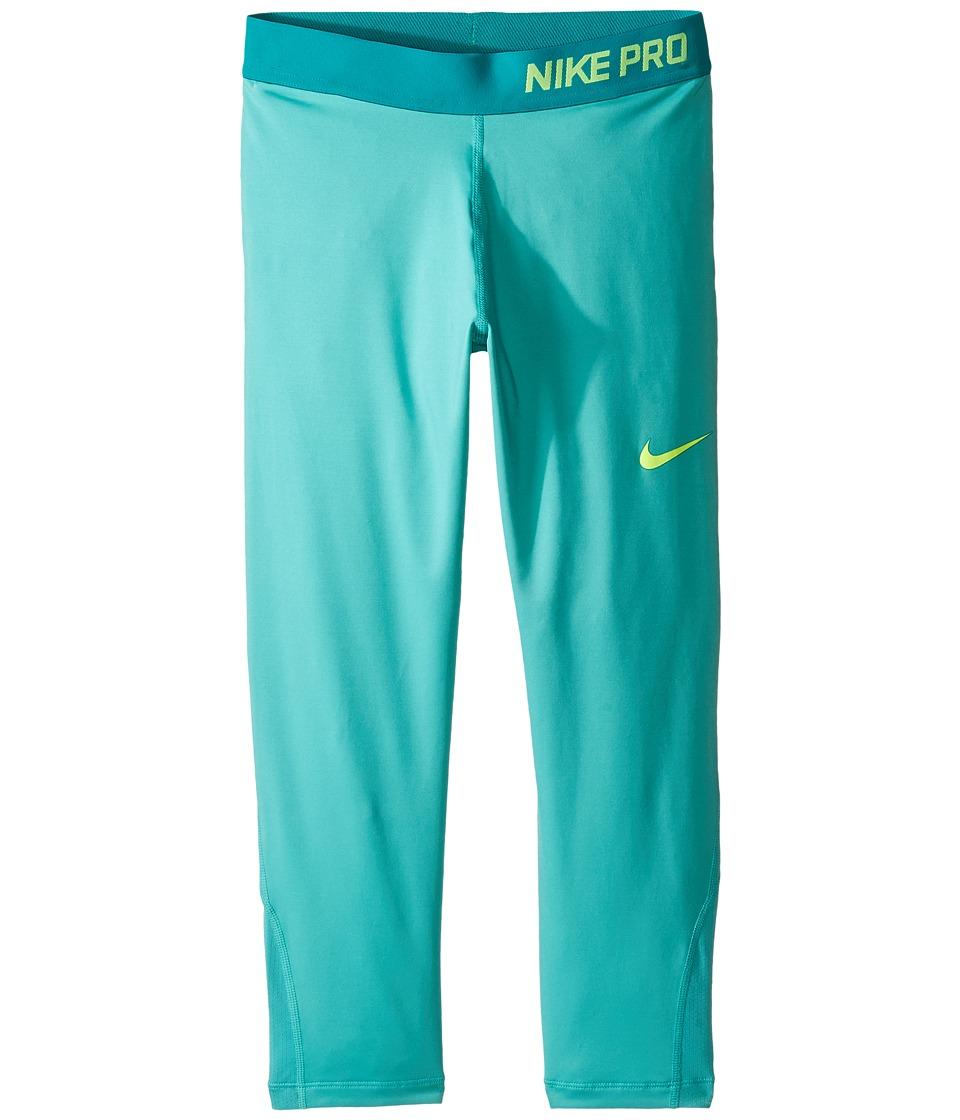 Nike Kids - Pro Cool Training Capri (Little Kids/Big Kids) (Hyper Jade/Hyper Jade/Rio Teal/Volt) Girl's Casual Pants
