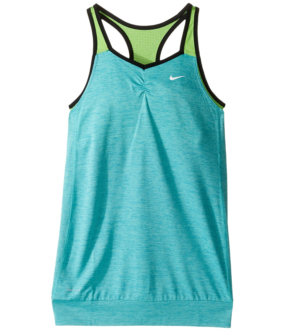 Nike Kids - Training Tank (Little Kids/Big Kids) (Washed Teal/Action Green/Black/White) Girl's Sleeveless