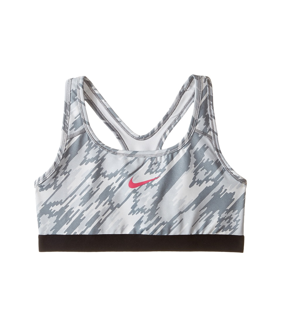 Nike Kids - Pro Printed Medium Support Sports Bra (Little Kids/Big Kids) (Pure Platinum/Black/Cool Grey/Vivid Pink) Girl's Bra