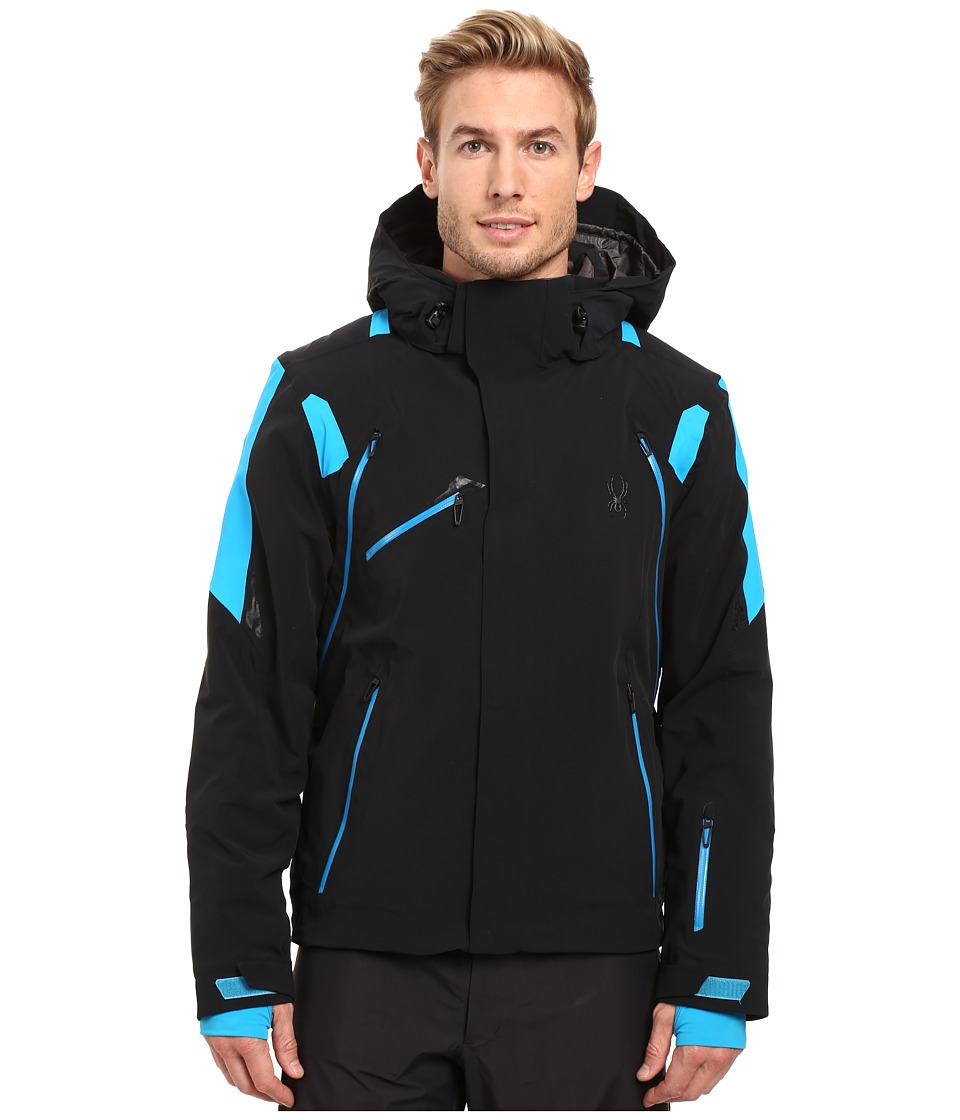 Spyder - Garmisch Jacket (Black/Electric Blue/Electric Blue) Men's Coat