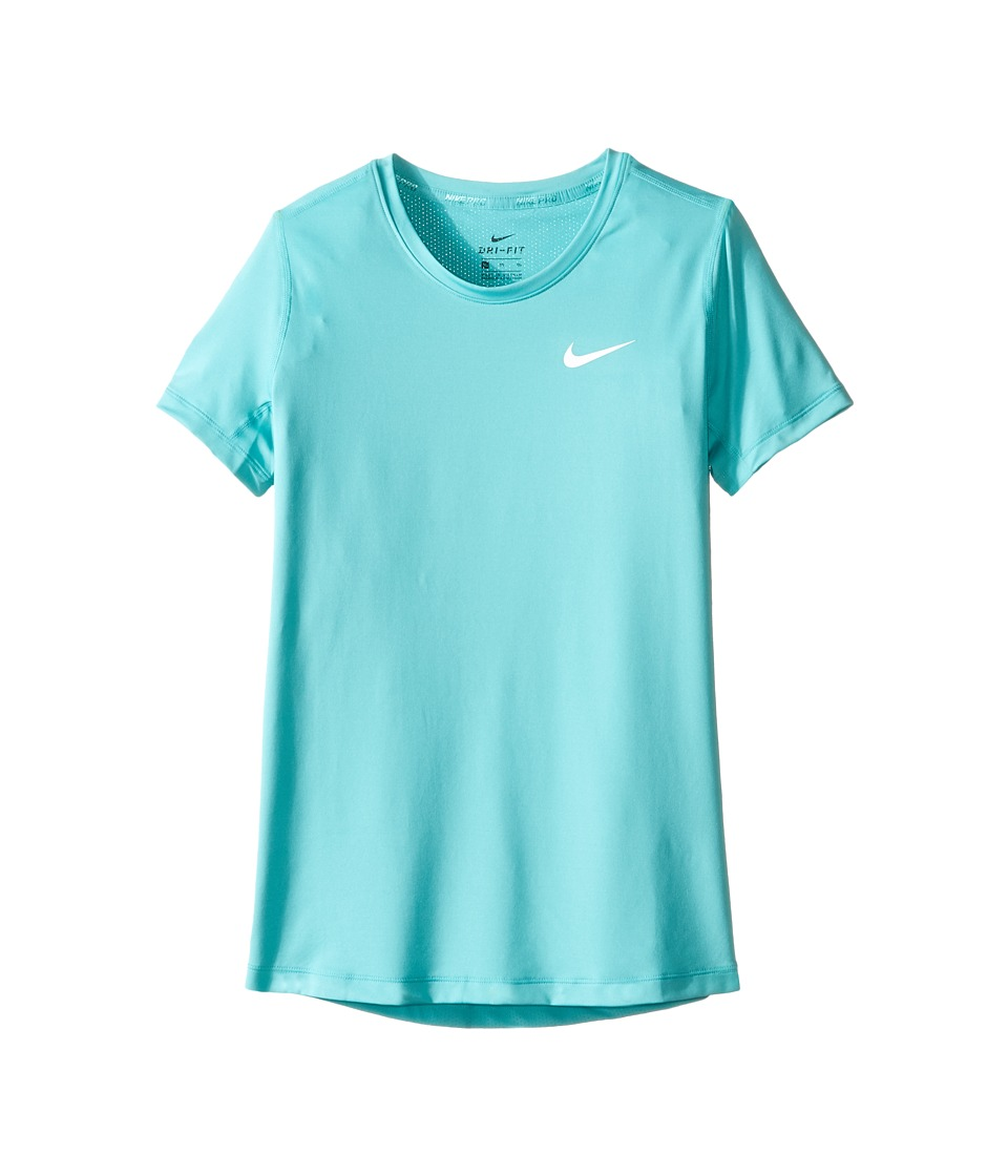 Nike Kids - Pro Cool Short Sleeve Training Top (Little Kids/Big Kids) (Hyper Jade/Hyper Jade/White) Girl's Clothing