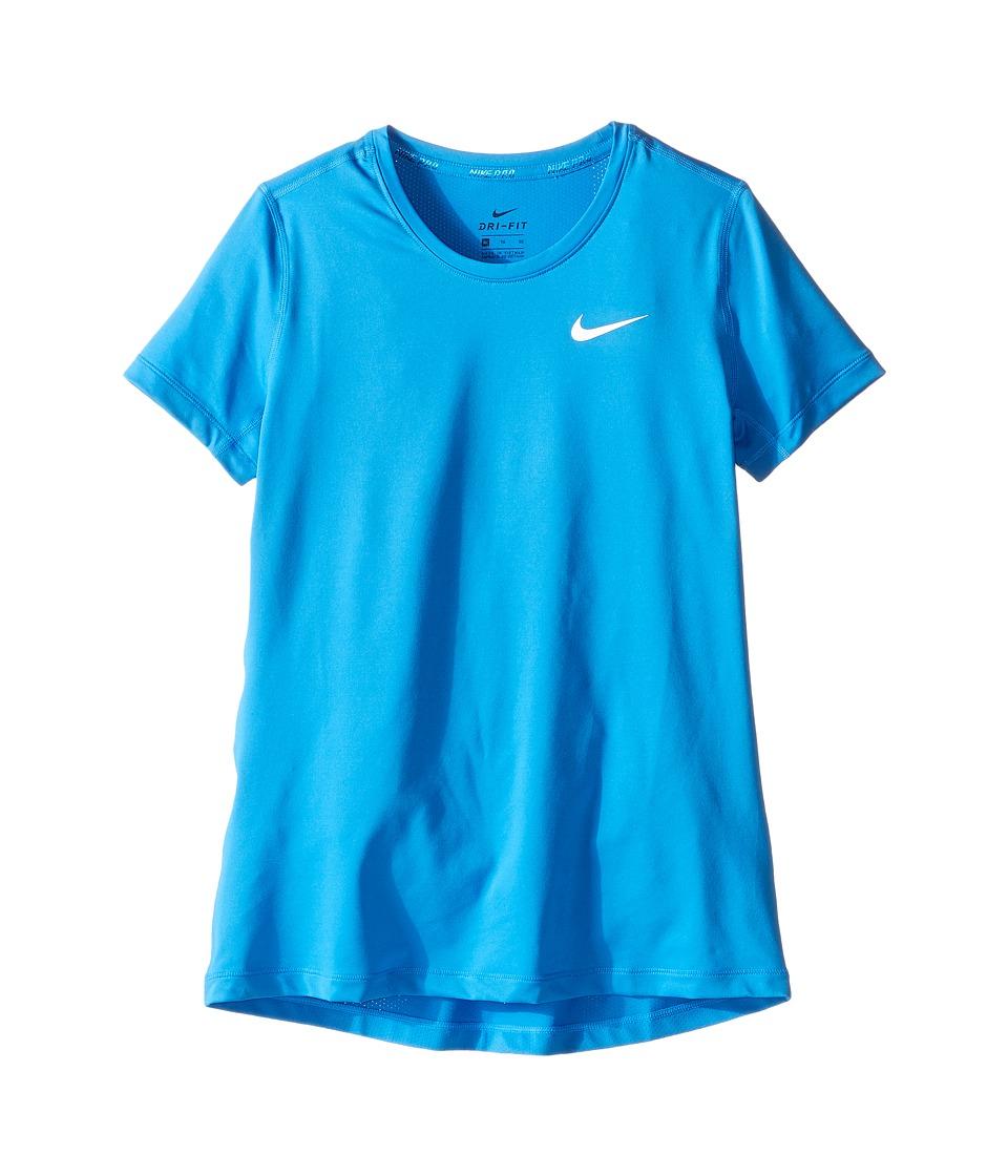 Nike Kids - Pro Cool Short Sleeve Training Top (Little Kids/Big Kids) (Light Photo Blue/Light Photo Blue/White) Girl's Clothing
