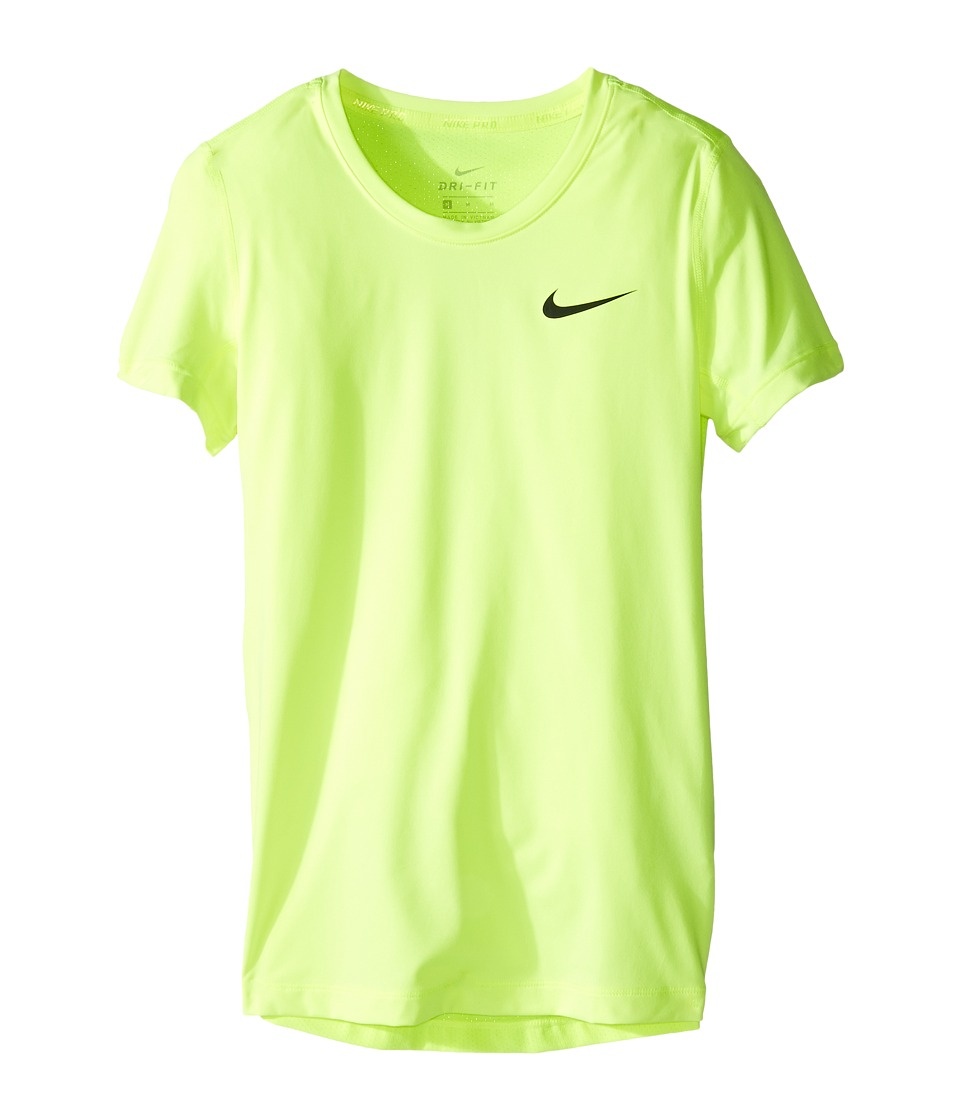 Nike Kids - Pro Cool Short Sleeve Training Top (Little Kids/Big Kids) (Volt/Volt/Black) Girl's Clothing