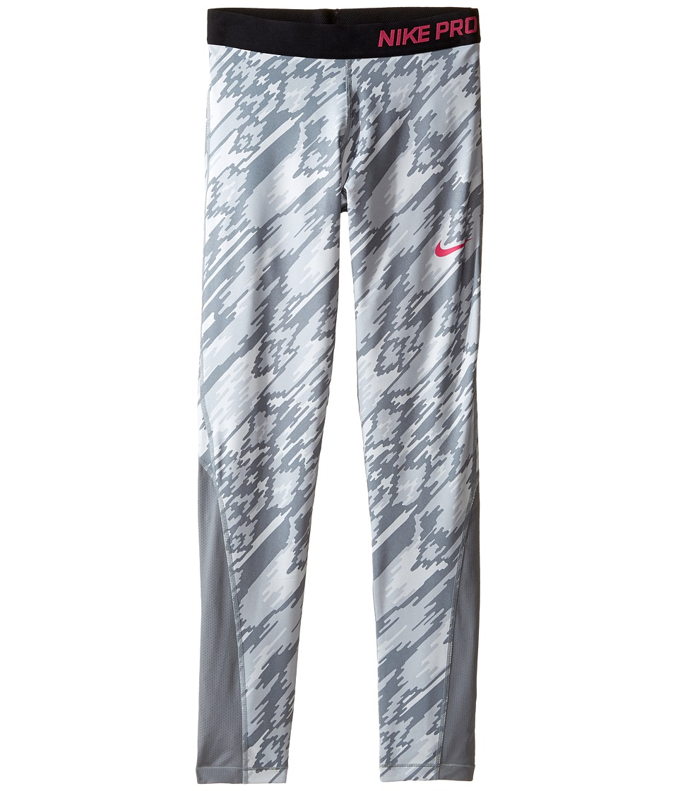 Nike Kids - Pro Cool Printed Tight (Little Kid/Big Kid) (Pure Platinum/Cool Grey/Black/Vivid Pink) Girl's Casual Pants