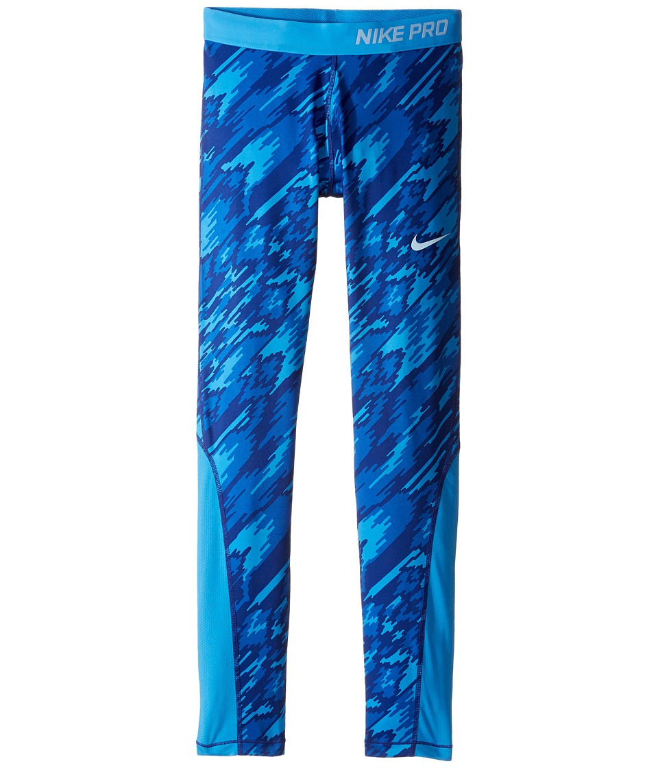 Nike Kids - Pro Cool Printed Tight (Little Kid/Big Kid) (Light Photo Blue/Light Photo Blue/Blue Cap) Girl's Casual Pants