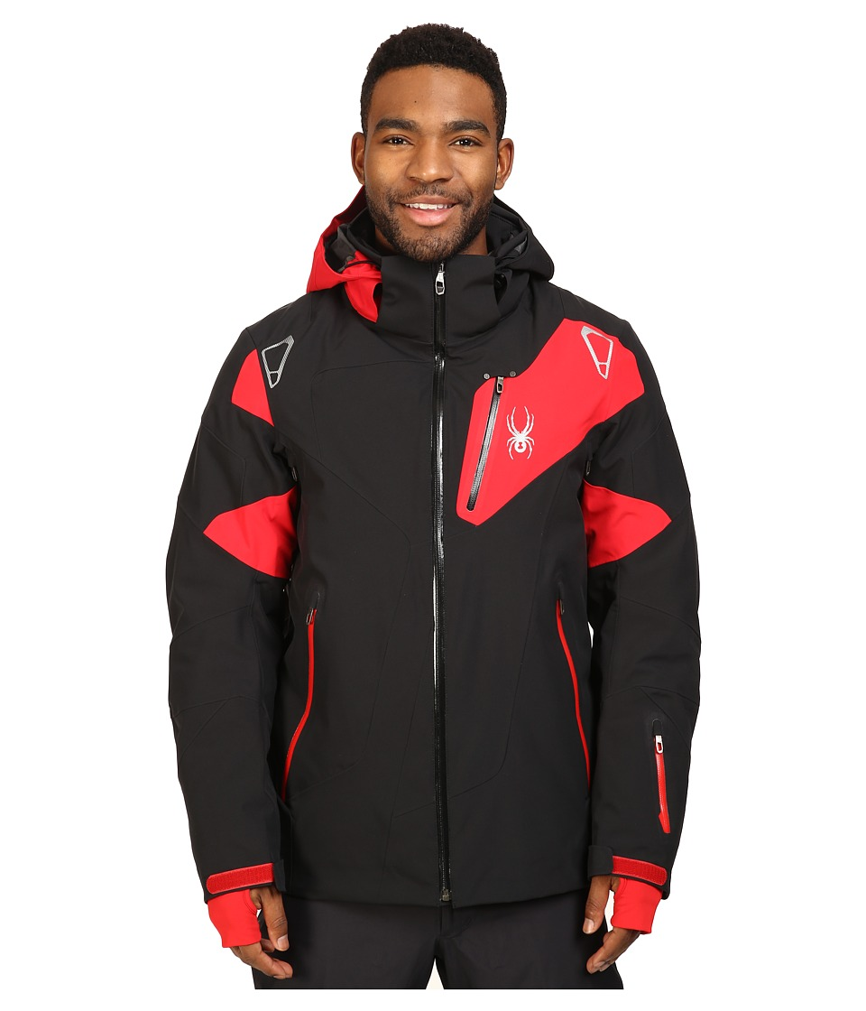 Spyder - Leader Jacket (Black/Black/Red) Men's Jacket