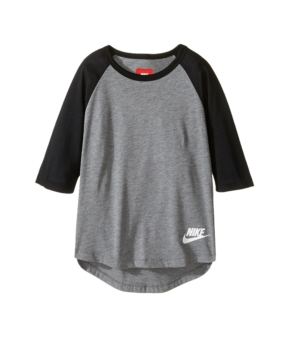 Nike Kids - Sportswear 3/4 Sleeve Top (Little Kid/Big Kid) (Carbon Heather/Black/White) Girl's Clothing
