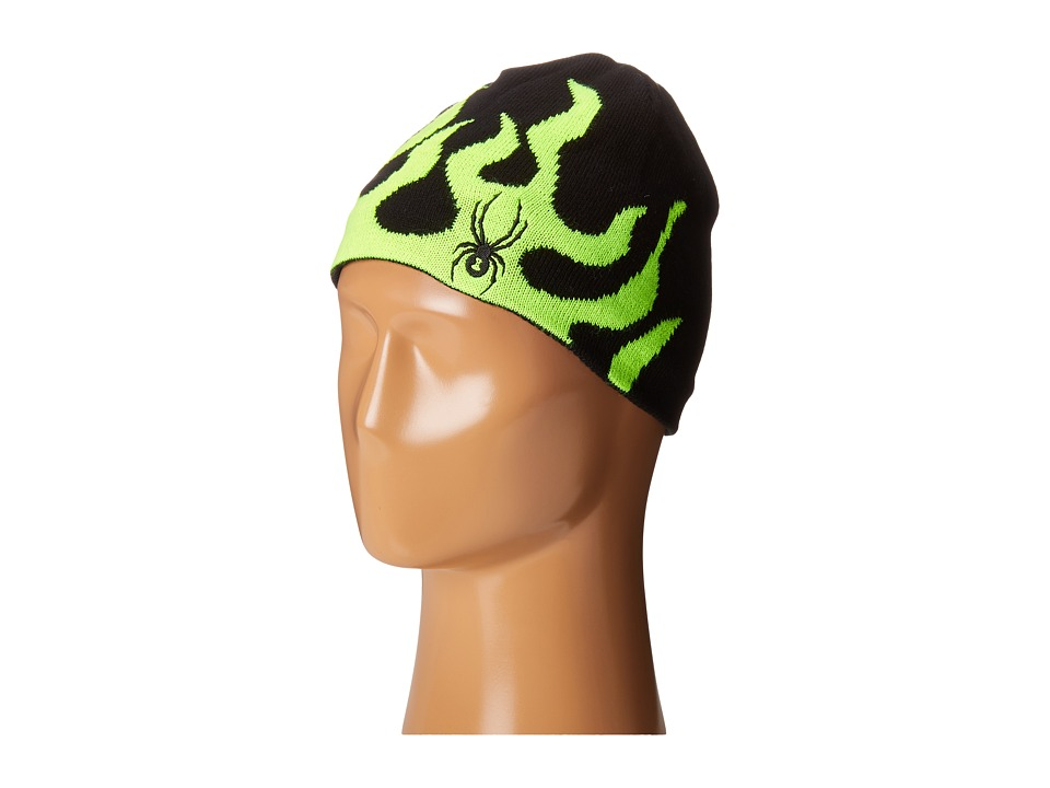 Spyder Kids - Mini Fire Hat (Toddler/Little Kids/Big Kids) (Black/Bryte Green) Beanies