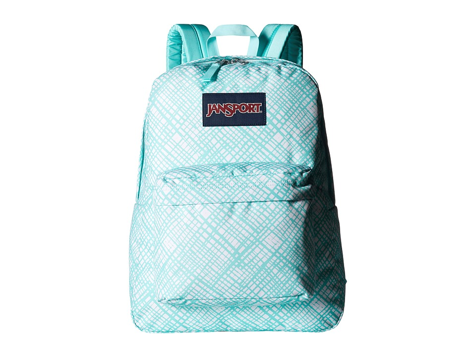 JanSport - SuperBreak (Aqua Dash Jagged Plaid) Backpack Bags