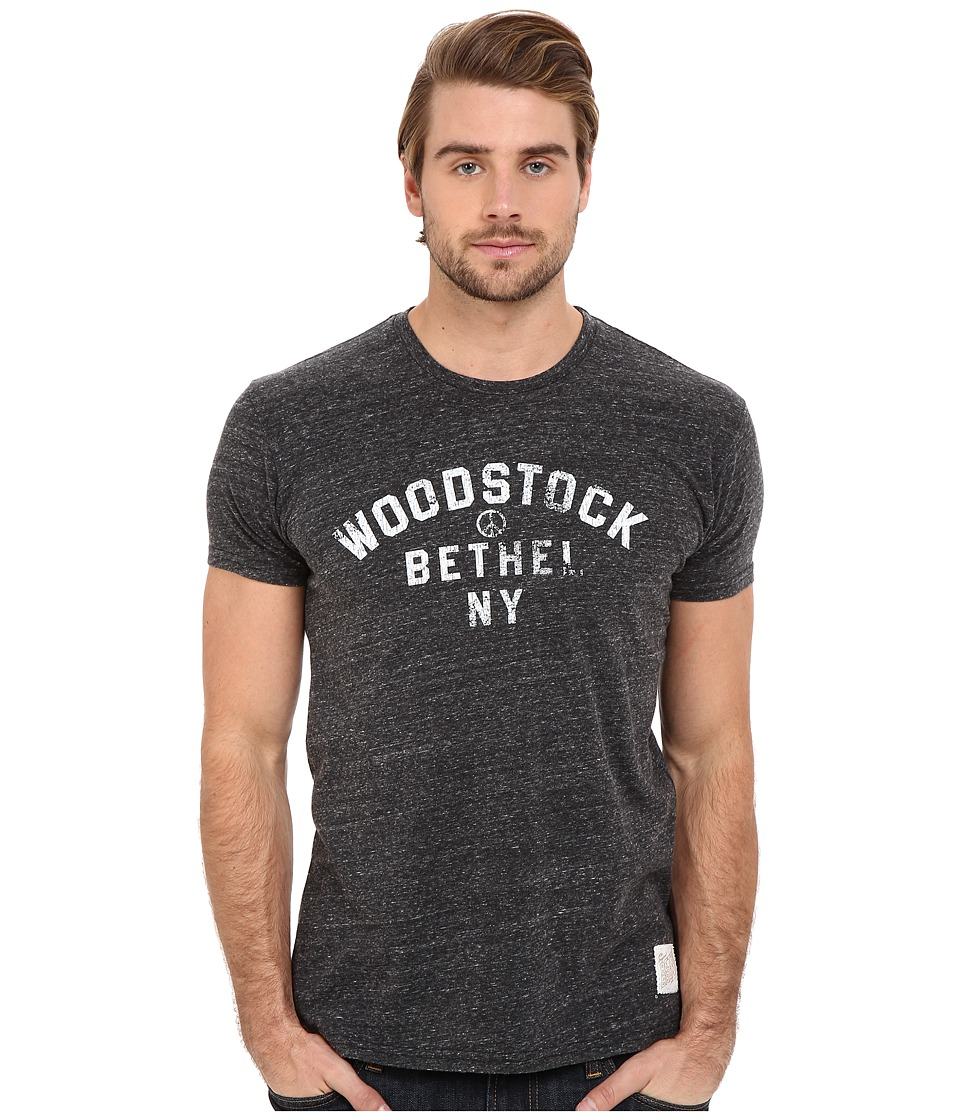 The Original Retro Brand - Tri-Blend Short Sleeve Woodstock NY Tee (Streaky Black) Men's Short Sleeve Pullover