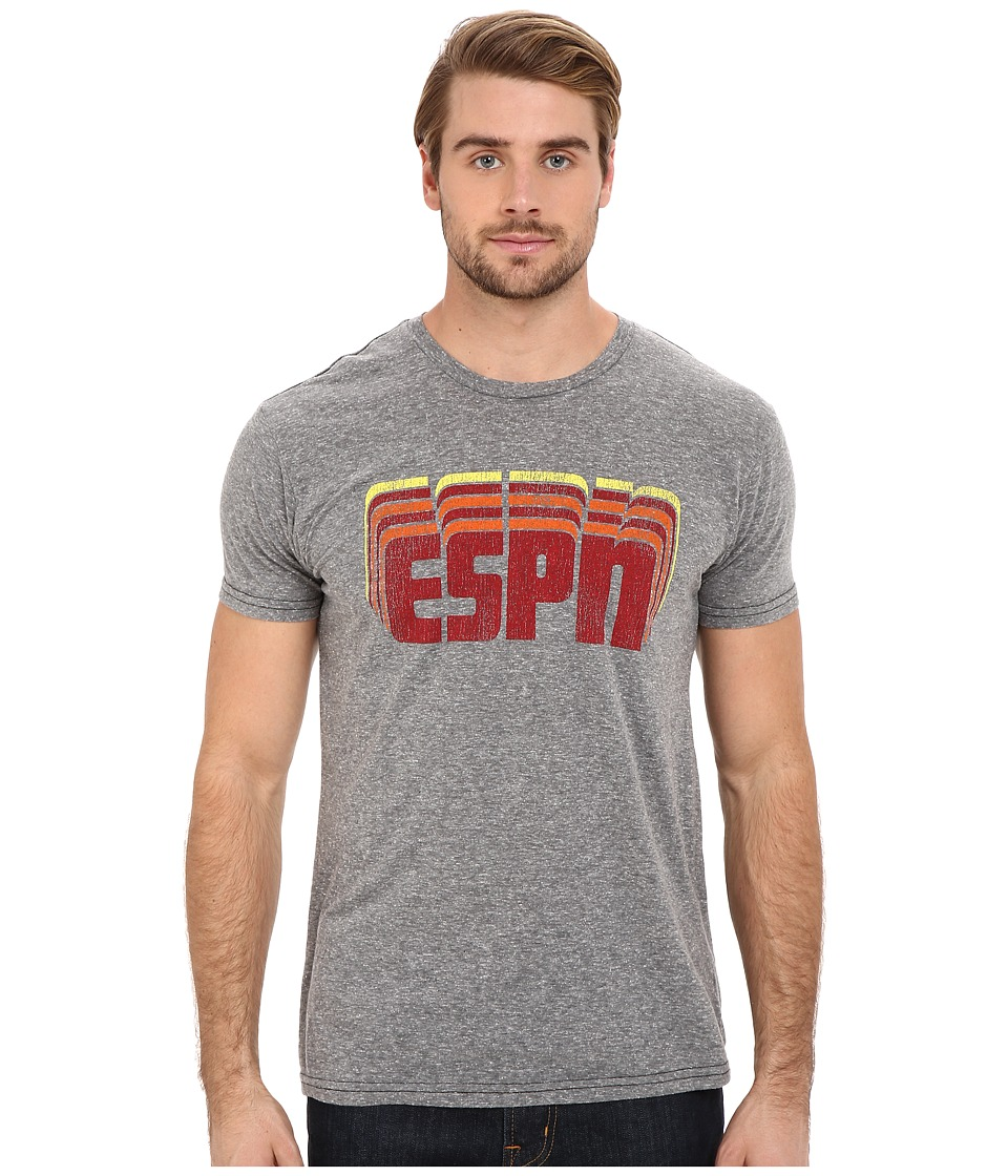 The Original Retro Brand - Short Sleeve Tri-Blend ESPN Tee (Streaky Grey) Men's Short Sleeve Pullover