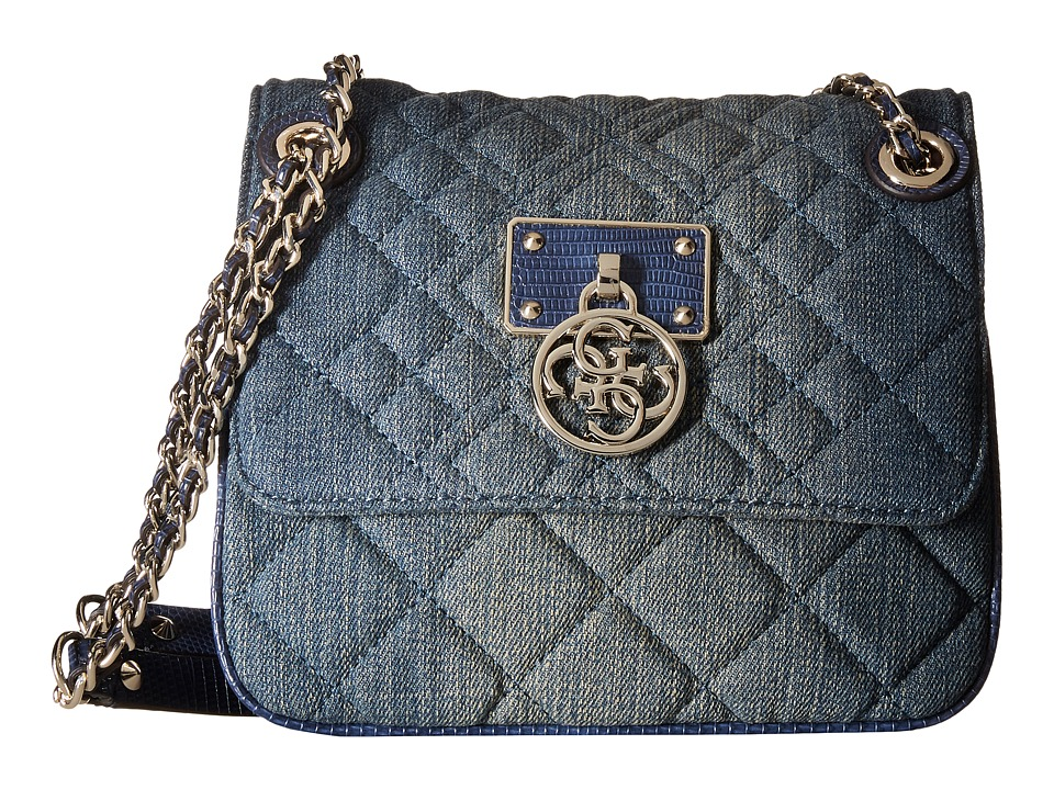 GUESS - Aliza Convertible Crossbody Flap (Blue Denim) Cross Body Handbags