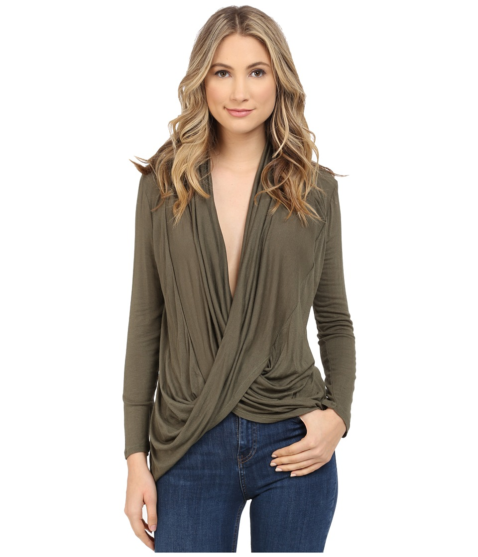 Culture Phit - Cowl Neck Long Sleeve Top (Olive) Women's Clothing