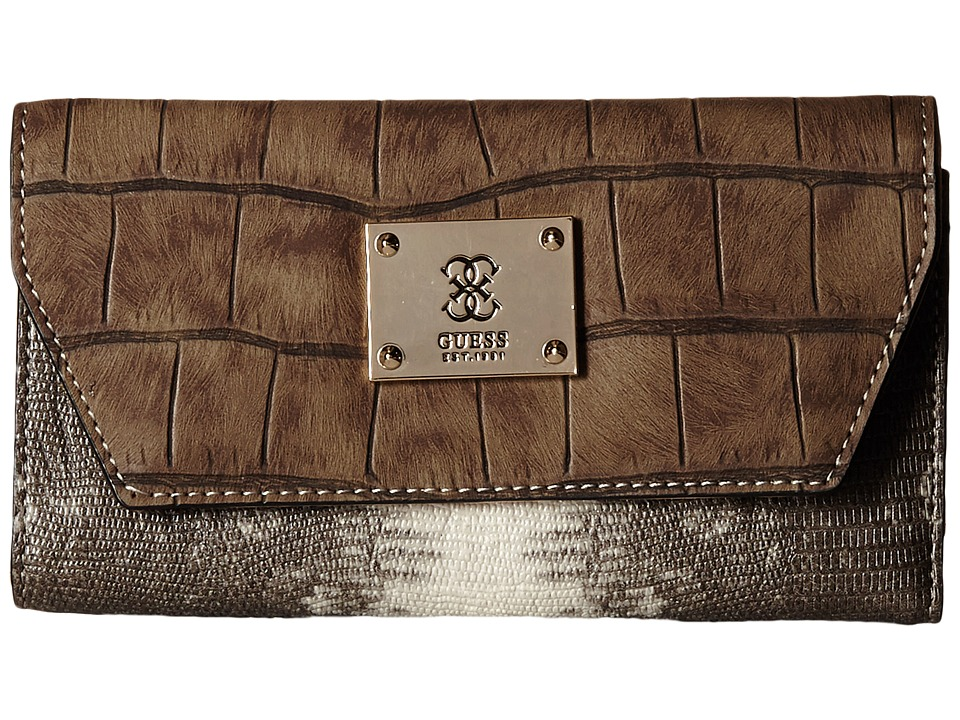 GUESS - Angela SLG Multi Clutch (Chestnut Multi) Clutch Handbags